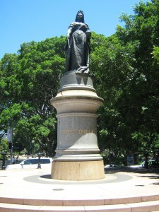 Imperious Victoria at the top of Macquarie Street, Sydney.
