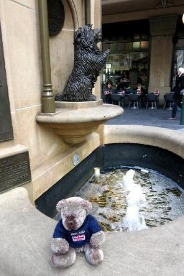Little Islay begging for coins to be thrown in the wishing well.