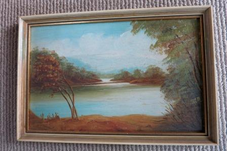 1930s Tasmanian painting, The upper reaches of the Derwent.