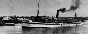 Hospital ship Kyarra leaving port in Brisbane 1916
