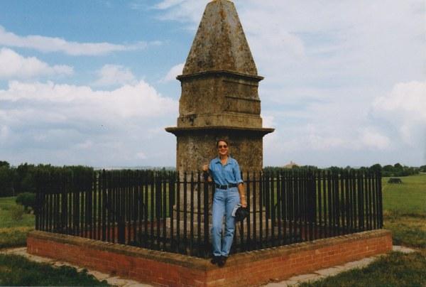 Author at the memorial pillar.