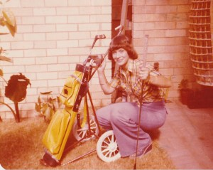 What a poser. And fancy wearing jeans! Circa 1980, before she gave up!