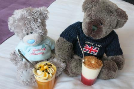 Enjoying puddings with my friend Little Jack.