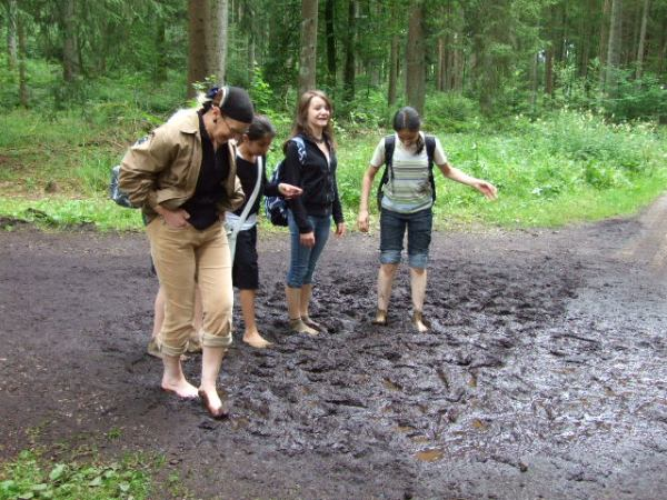 Mud between our toes!