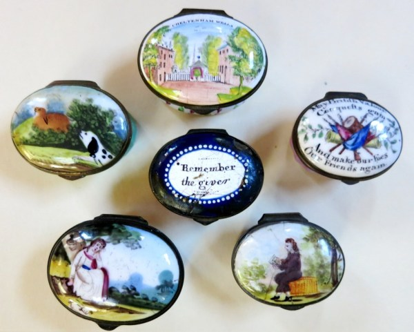 Enamel boxes from the 18th and early 19th century.