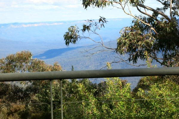 View from the terrace. Note the blue eucalyptus haze.