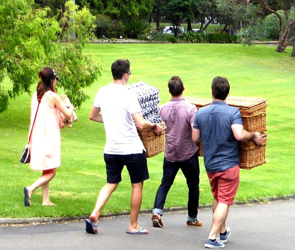 I wonder what goodies are in those wicker hampers?