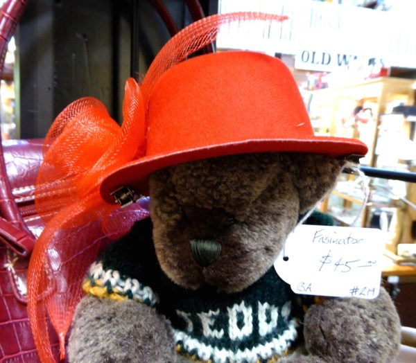Trying on  a hat at the Victory Antiques Centre in the Blue  Mountains.