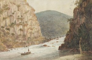 Water colour of Cataract Gorge, Port Dalrymple. circa 1811