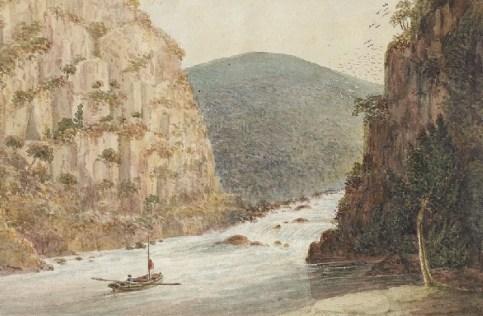 Water colour of Cataract Gorge, Port Dalrymple. circa 1811