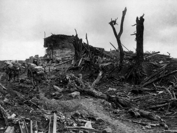 The nightmarish landscape at Pozieres after the battle.