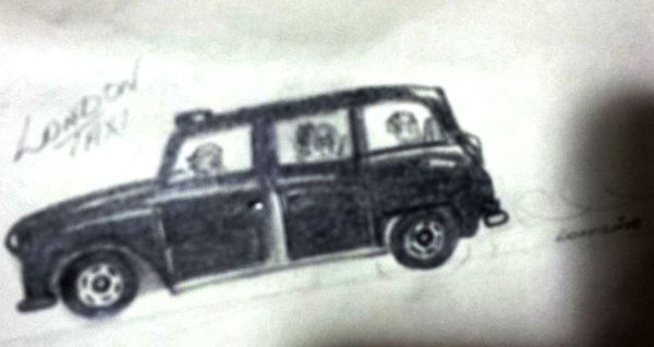 Lorraine's drawings of a famous Black Taxi.