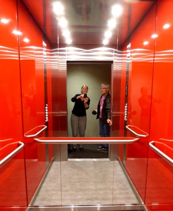 Mirrored hotel lift