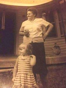 Jessica, aged three, with her beloved Granny.
