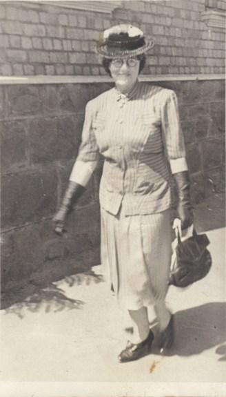 Grandma Alice photographed in Reibey Street, Ulverstone.