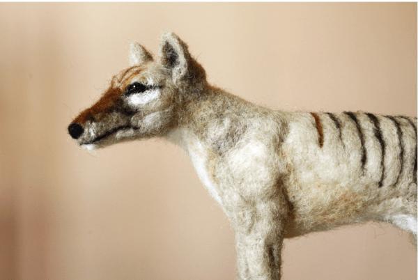 Tasmanian Tiger crafted from felt.