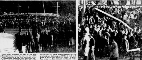 Ground invasion at Football final North Hobart and Wynyard 1967