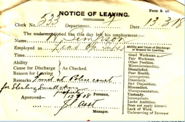 Discharge papers from Lithgow Small Arms Factory
