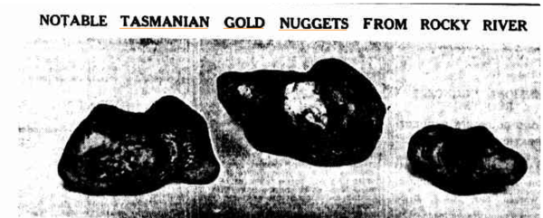 Gold nuggets from Rocky River in Tasmania
