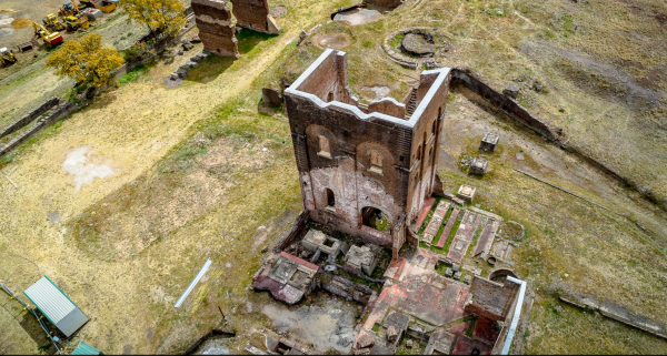 Blast furnace at Lithgow, image taken from a drone.