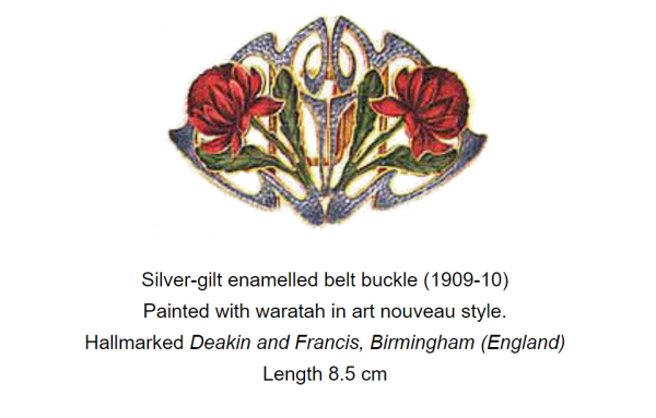 Belt buckle with waratah bloom design
