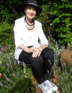 Pauline conolly on her lavender seat