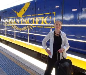 Pauline Conolly about to board the Indian Pacific