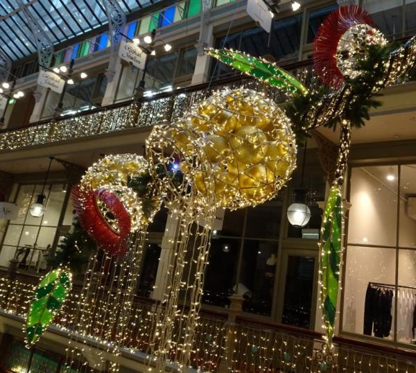 Gum nuts and leaves in Sydney's festive Strand Arcade.