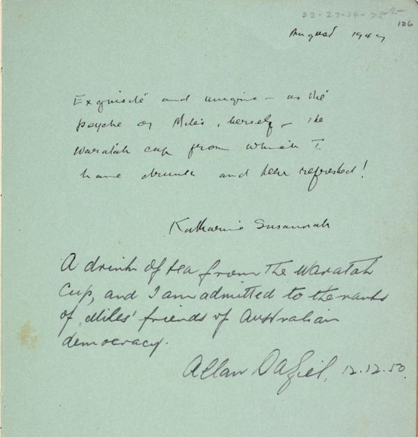Miles Franklin autograph book