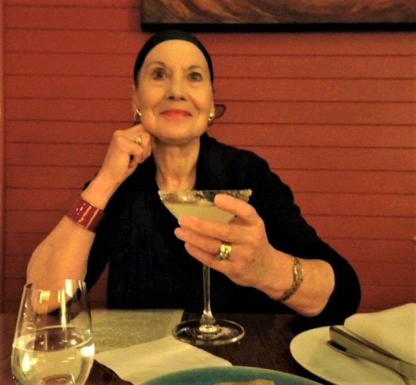 Pauline Conolly enjoying a maguerita at Cinnabar in Blackheath