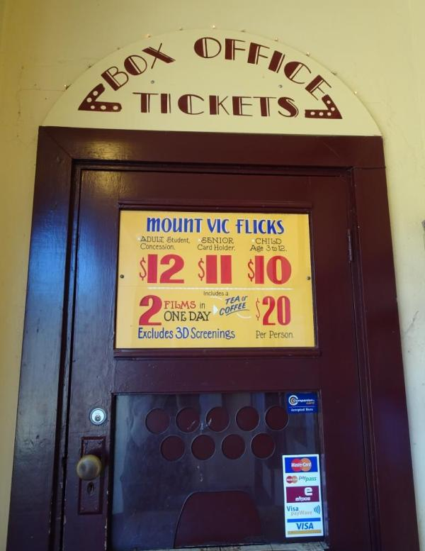 Box office at Mount Vic Flicks