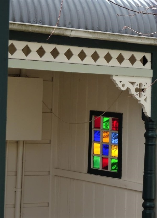 Coloured glass panes in cottage at Blackheath NSW