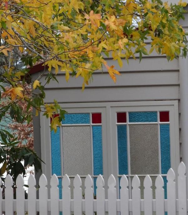 Stained glass in a veranda at Blckheath NSW.