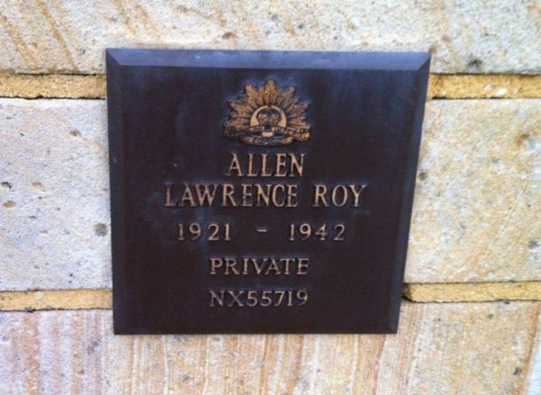 Memorial plaque for Pte. Lawrence Roy Allen