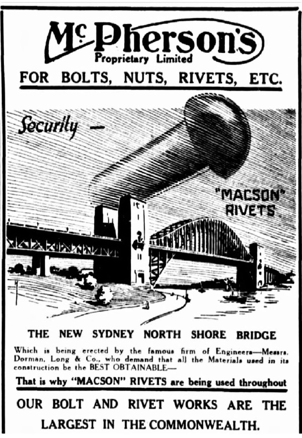 Advertisement for the rivets used on the Sydney Harbour Bridge.