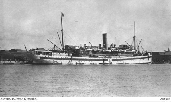 Hospital ship Kyarra moored in Alexandria