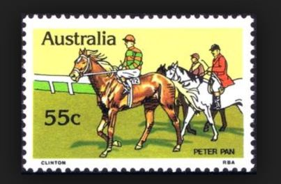 Peter Pan, celebrated on a postage stamp.