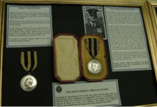 Bravery medals awarded to Constable Taylor after the Derby flood in 1929