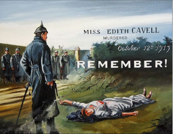 Edith Cavell recruitment poster WWI