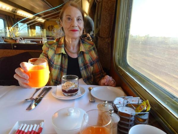 Pauline Conolly aboard tHE GHAN