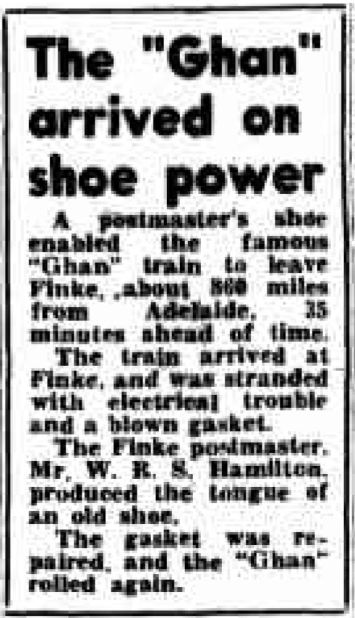 When shoe power helped The Ghan arrive on time.