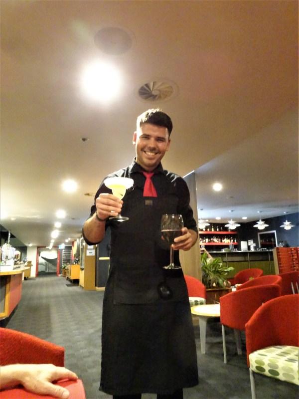 Delivering a  Margarita cocktail.