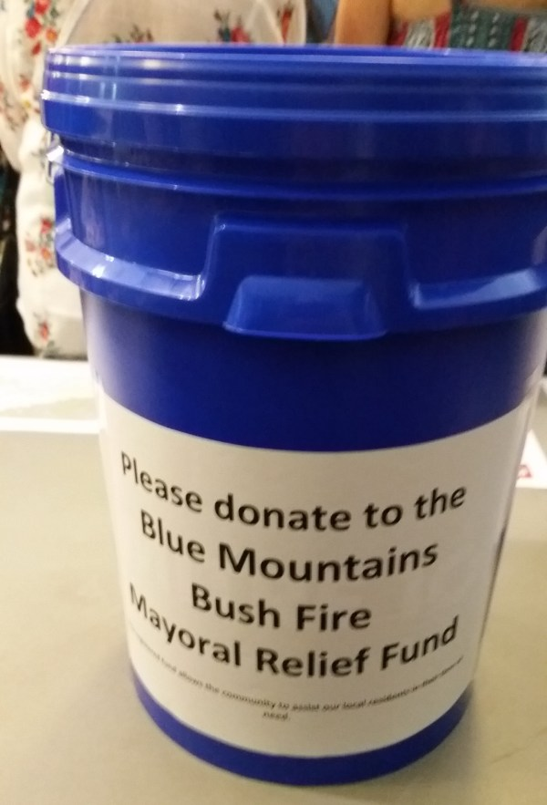 Community fundraising for victims of the fires.