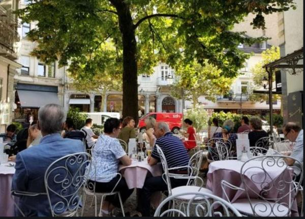 Cafe at Baden-Baden after bathing in the buff.