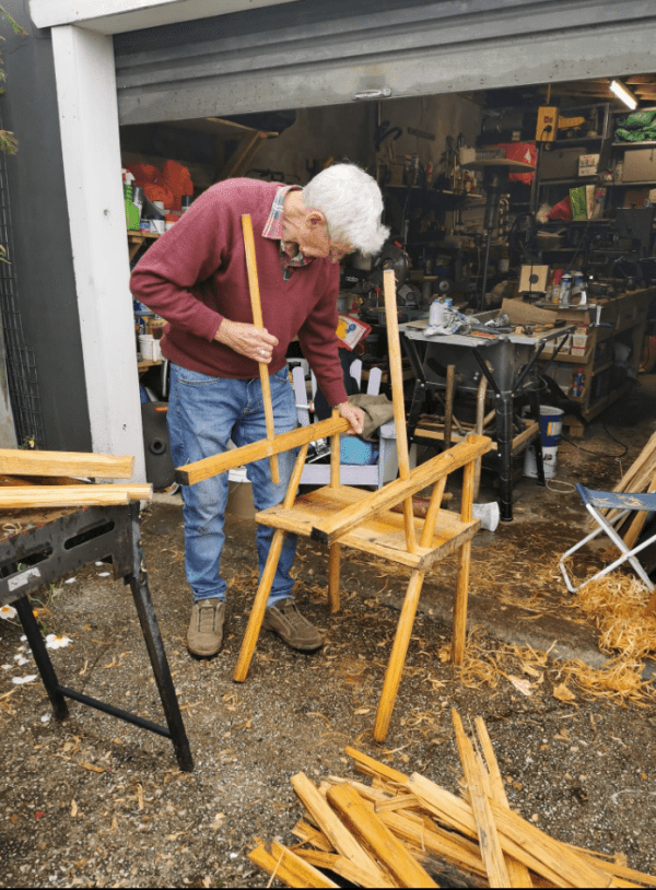 My brother Ken working on a Larcombe chair.