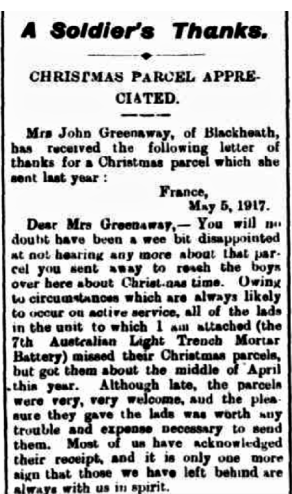 A thankyou letter to a Blackheath lady re Christmas 1917