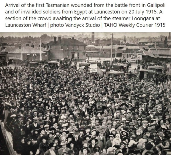 Crowd waiting to welcome casualties aboard the Loongana in 1915.
