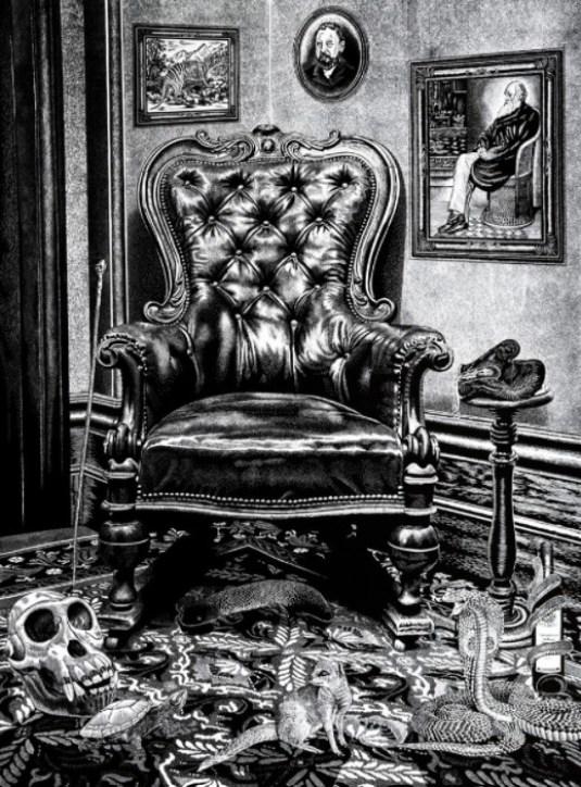 Lino print of Mr Krufft's chair by Rew Hanks.