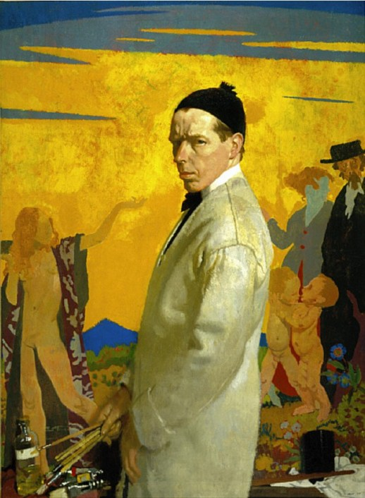 An Orpen self portrait with  a version of Sowing New Seed in the background.