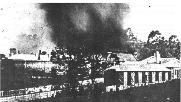 The bushfire that destroyed the Model Prison.